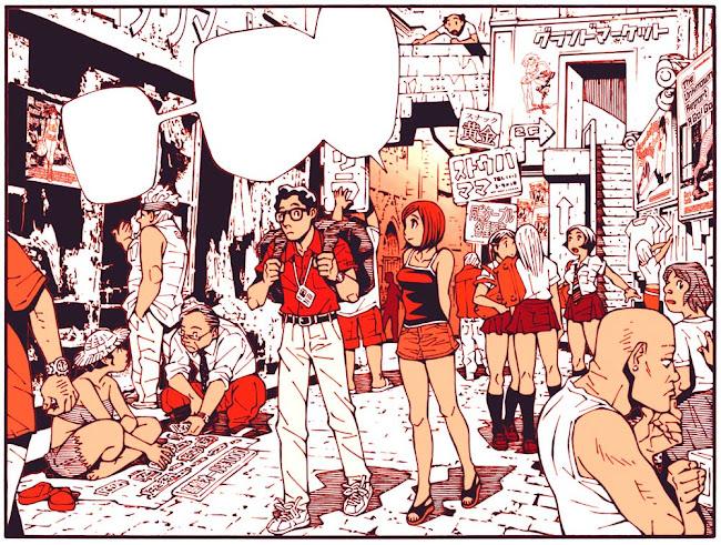 夏の都市の雑踏を描いたマンガのひとコマ