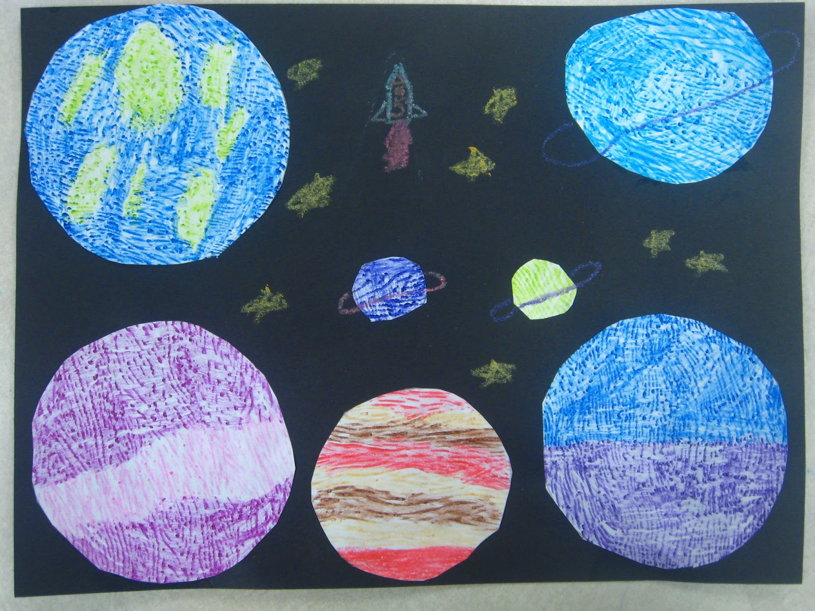 Miss Youngs Art Room 1st Grade Texture Planets