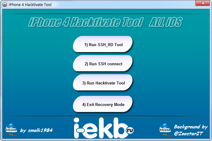install tool windows only 2 open iphone4 hacktivate tool 3 put your