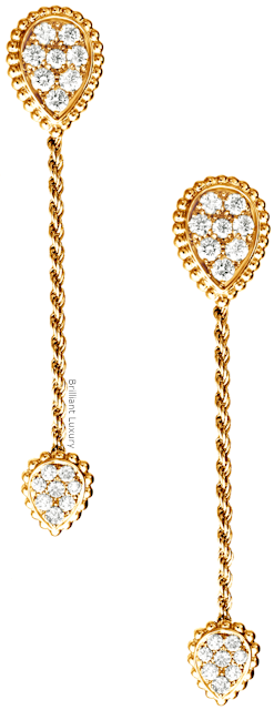 Brilliant Luxury♦Boucheron Paris Serpent Bohème pendant earrings