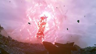 Kakarot (Goku) doing the famous Kamehameha.