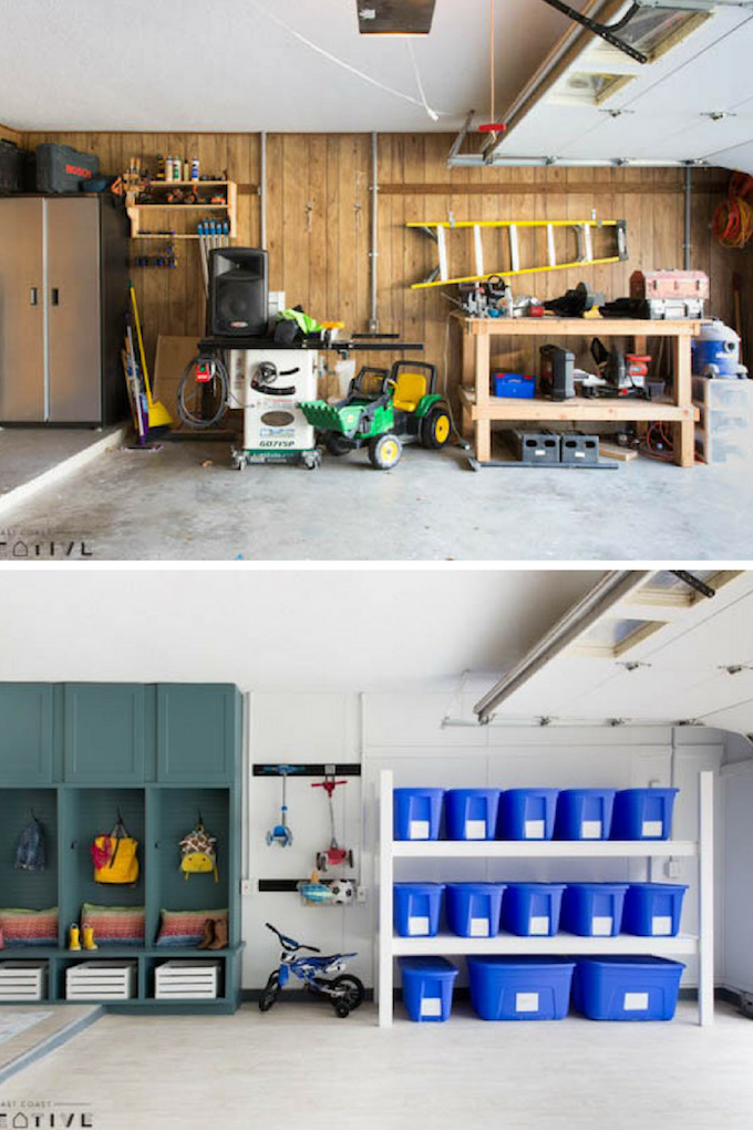 Garage Makeover Before and After Photes, Lowe's Makeover, The Weekender, Garage organization, modern garage, Lowe's makeover, organized garage, garage renovation
