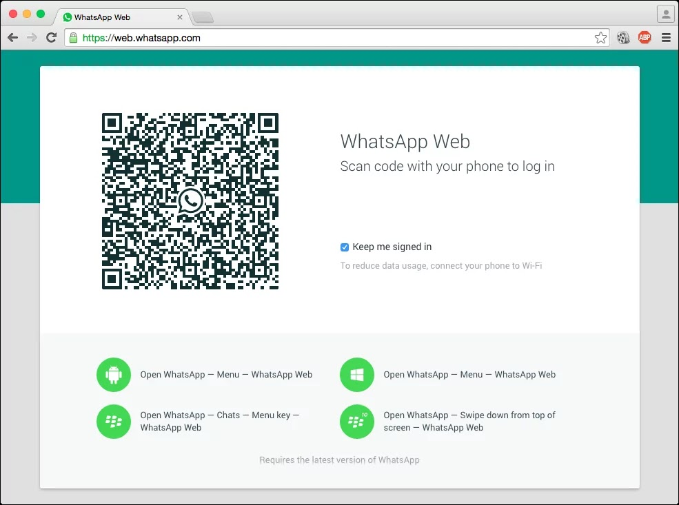 WhatsApp web streamed on PC