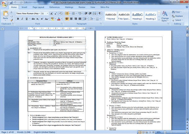 Perangkat Pembelajaran SKI (Sejarah Kebudayaan Islam) SMA MA Kelas 11 Kurikulum 2013 Revisi 2018
