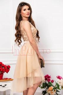 Rochie de lux nude beige cu fusta din tul asimetrica funda si bust brodat 7b