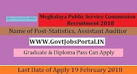Meghalaya Public Service Commission Recruitment 2018– 50 Inspector of Statistics, Assistant Auditor