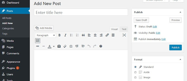 text editor wordpress default