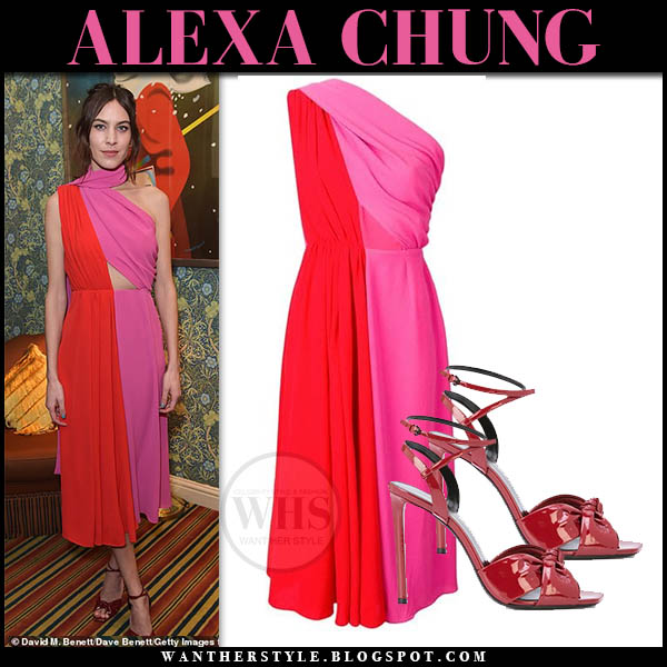 Alexa Chung wears pink and red sleeveless midi dress and red sandals. Fashion week party outfit february 2019