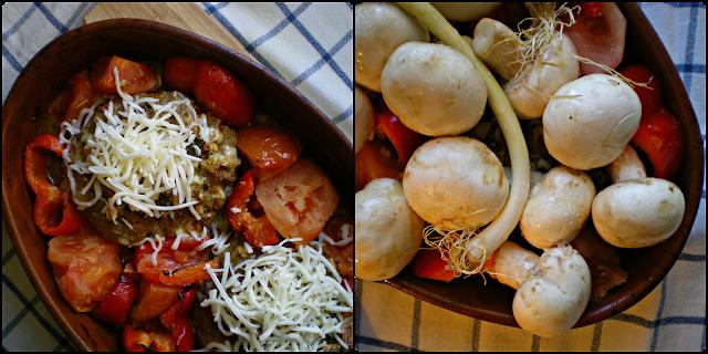 Hamburguesas sabrosas al horno con verduras; Horneado