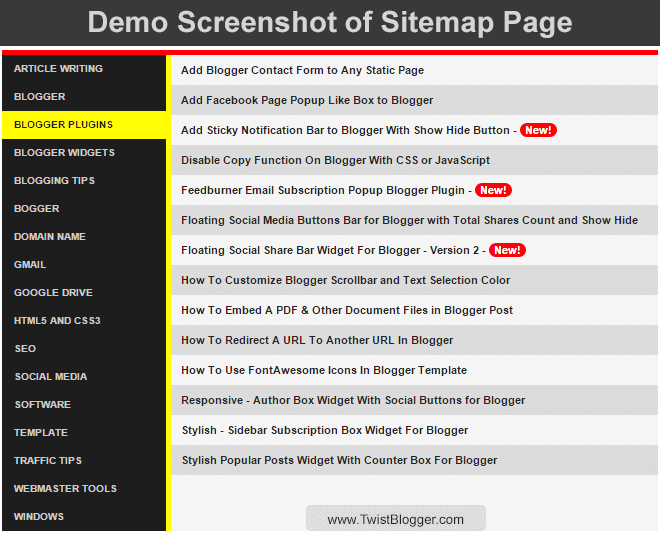 Blogger Sitemap Page Screenshot