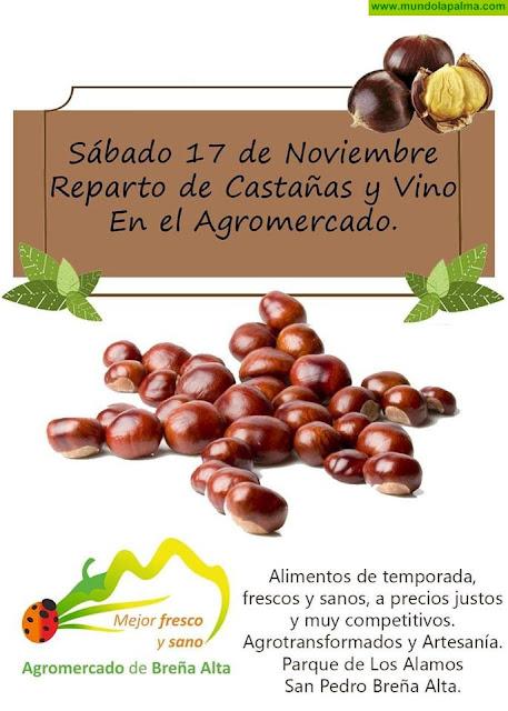 Reparto de Castañas y Vino en el Agromercado de Breña Alta