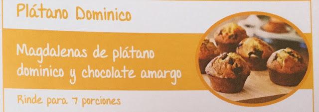 Magdalenas de plátano dominico y chocolate amargo    Receta con Plátano Dominico