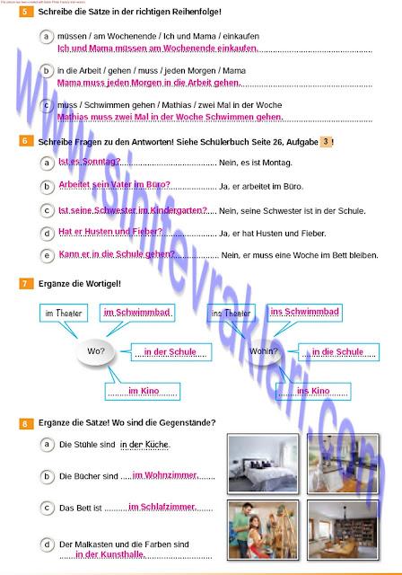 Almanca A1.2 Çıpa Yayınları Çalışma Kitabı Cevapları Sayfa 26