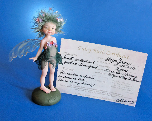 Hope Fairy ooak art doll sculpted from Polymer Clay