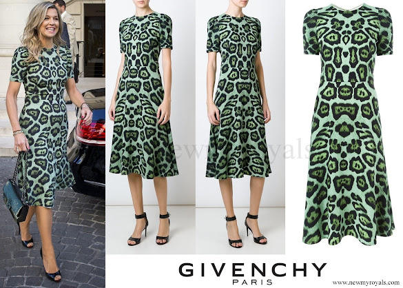 Queen Maxima wore GIVENCHY Leopard Print A-line Dress
