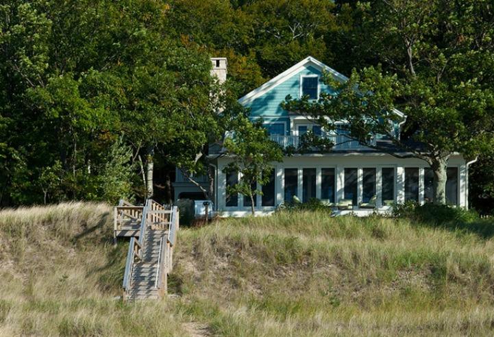 Coastal waterside cottage exterior