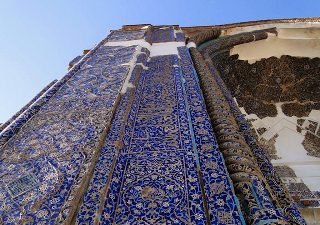the tile-works of Blue mosque in tabriz. Iran