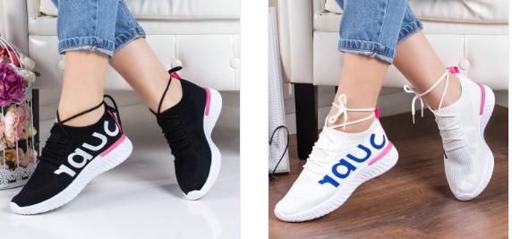 Pantofi sport albi negri din material comozi cu scris