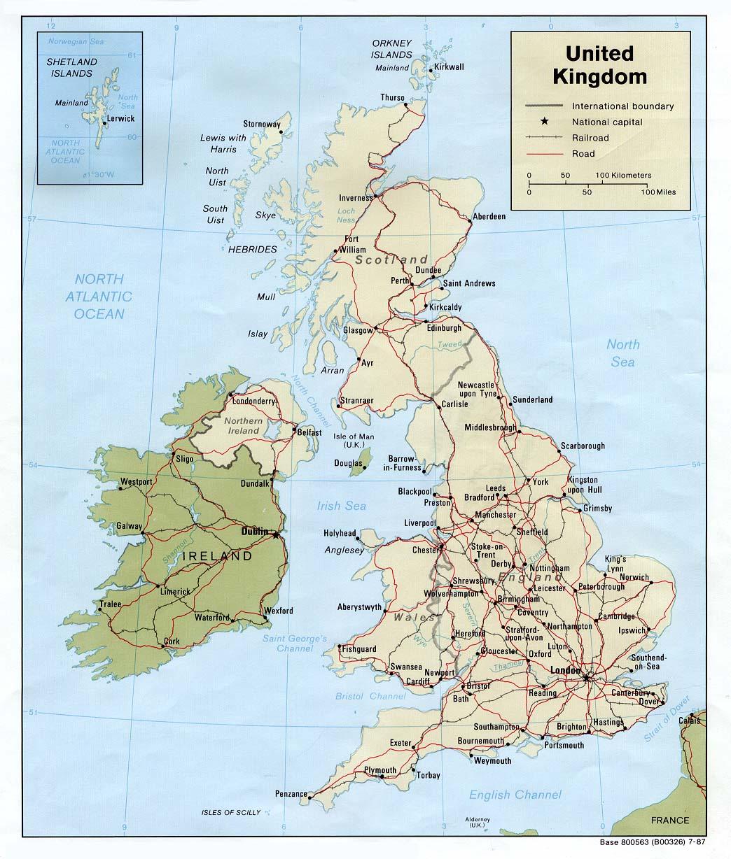 Kaart Landen Noord Europa Kaart Groot Brittannie En Londen Wales