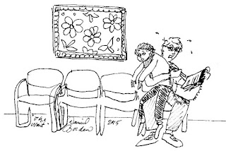 cartoon of a man Juggling a quadriplegic child and a clipboard in a waiting room by David Borden
