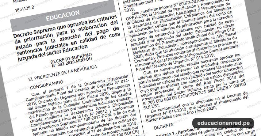 MINEDU aprueba los criterios y los grupos para la atención del pago de sentencias judiciales (Deuda Social) D. S. N° 002-2020-MINEDU