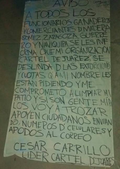 """Cesar Carrillo hijo de """"El Señor de los Cielos"""" Amado Carrillo ahora líder del Cártel de Juarez cuelga narcomanta con amenaza hasta para los de su propio cártel"""