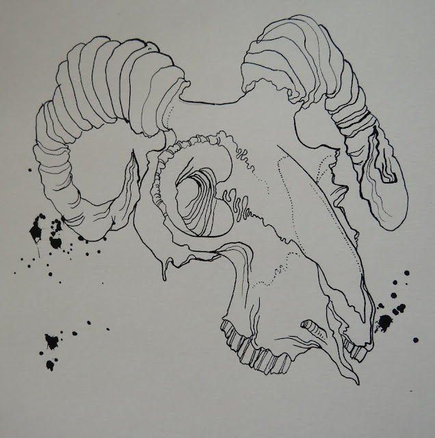 inktober day 2 2018  ink ram skull