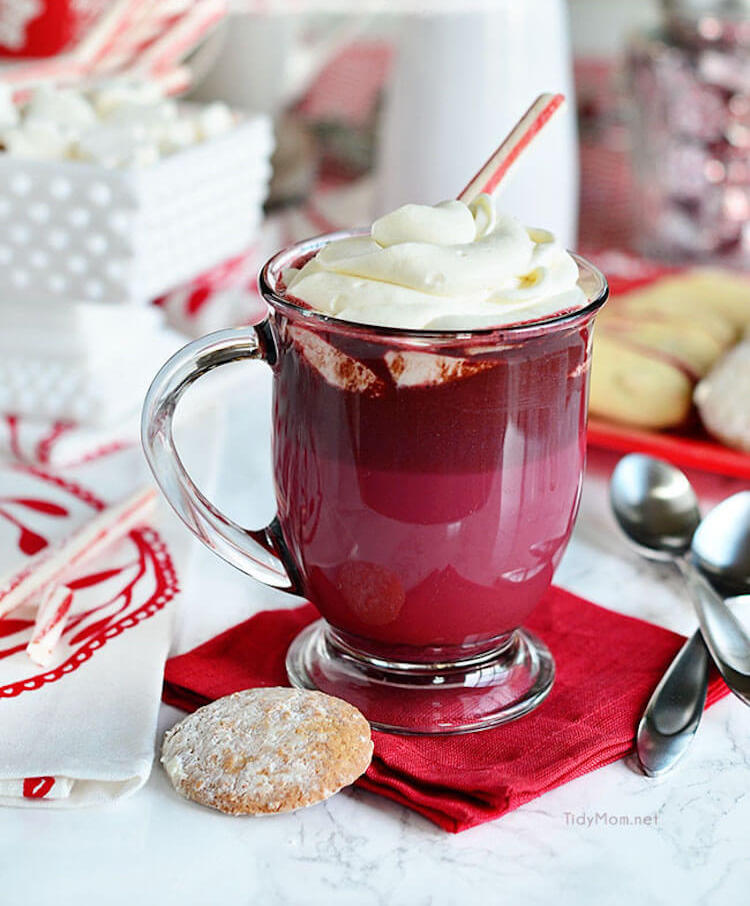 receta de chocolate caliente red velvet
