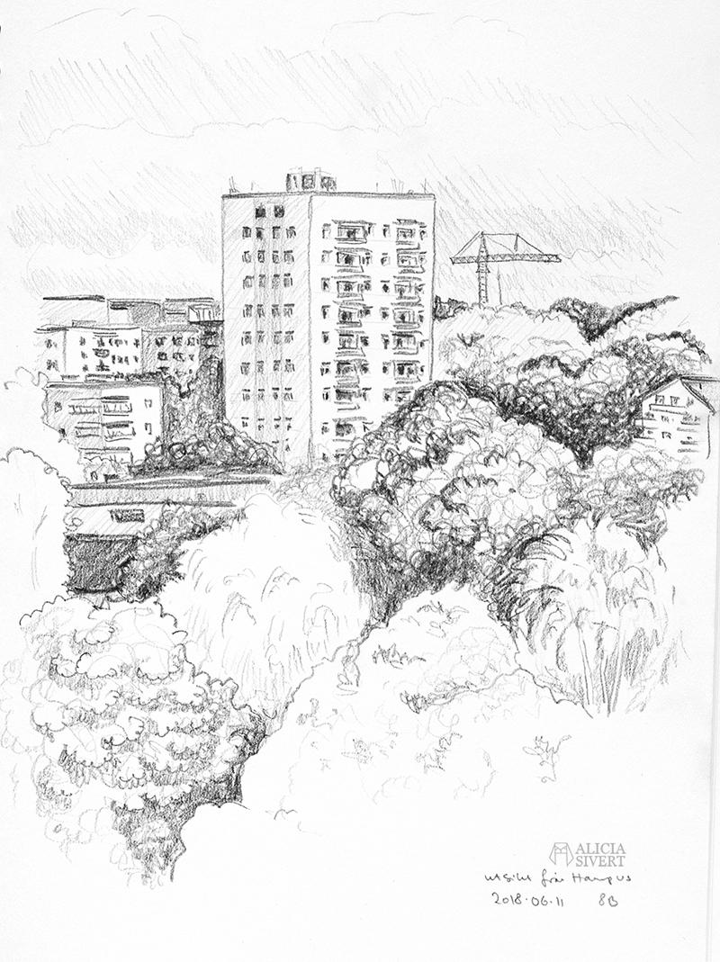 Teckningsutmaningen i juni, foto av Alicia Sivertsson. aliciasivert teckning teckningar teckna skiss skissa rita skapa skapande utmaning kreativitet skaparutmaning bloggutmaning månadsutmaning kreativ penna pennor blyertspennor blyertspenna utsikt höghus
