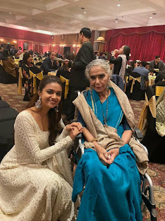 Keerthy Suresh in White Dress with Cute and Awesome Lovely Smile with Surekha Sikri Maam