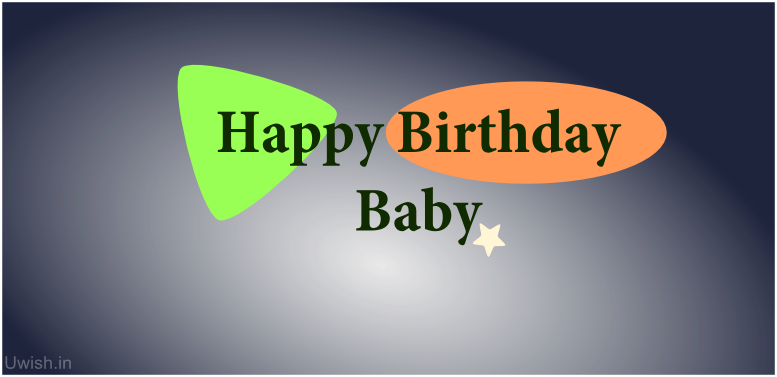 Happy Birthday Baby greetings and wishes with colourful background.