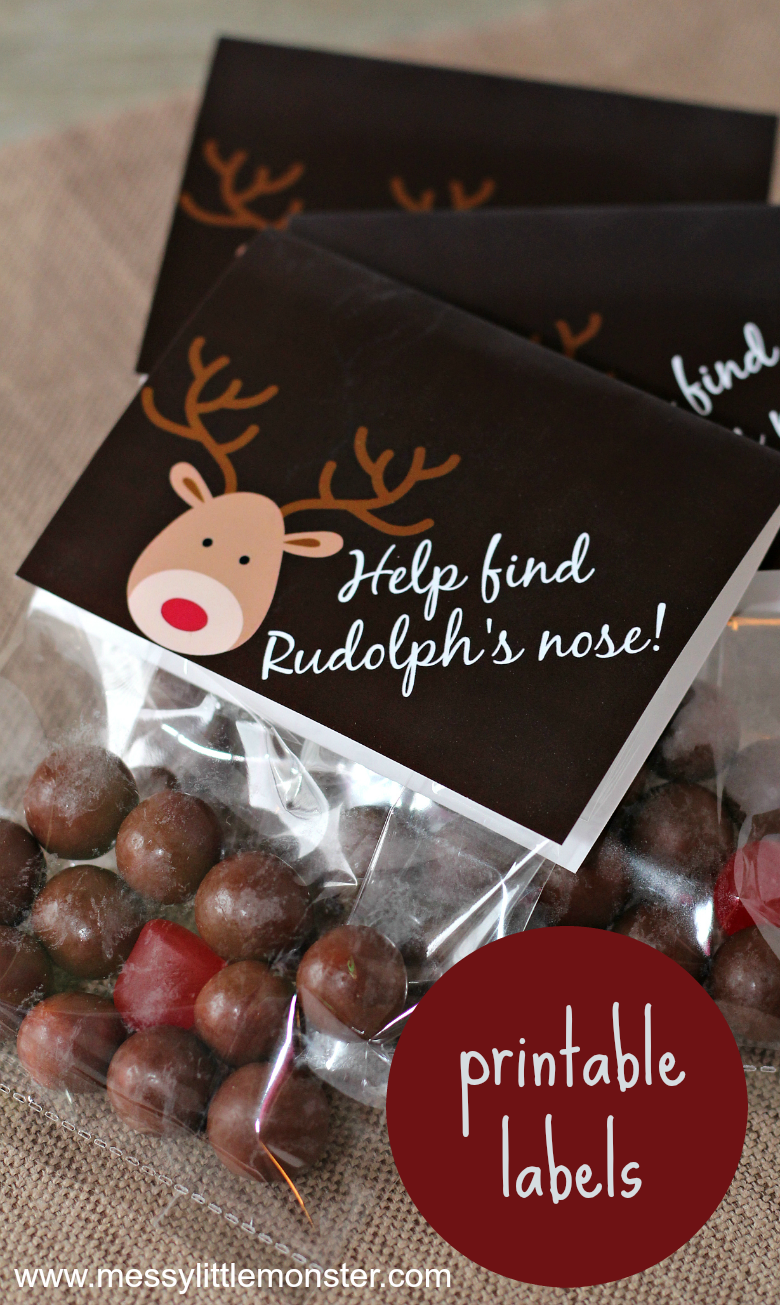Reindeer noses christmas treat bags. Use our free printable labels to make these easy homemade Christmas gifts.