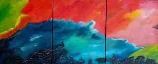 landscape, abstarct, swimmer, ocean, colourfull, painting, art for sale, kunst til salg, farverig, galleri, gallery, denmark, dansk kunstner