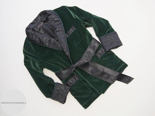 mens smoking jacket dark green velvet black quilted silk luxury warm cotton robe for men gentleman english style