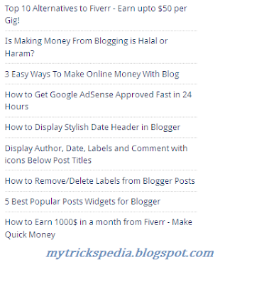 recent posts widget for blogger with only title