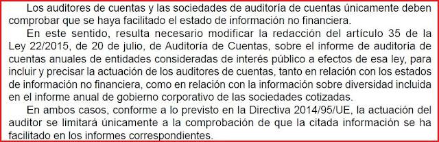 Responsabilidad de auditor respecto a la información no financiera