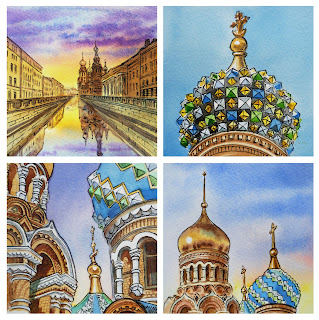 Blood Cathedral Saint Petersburg watercolor