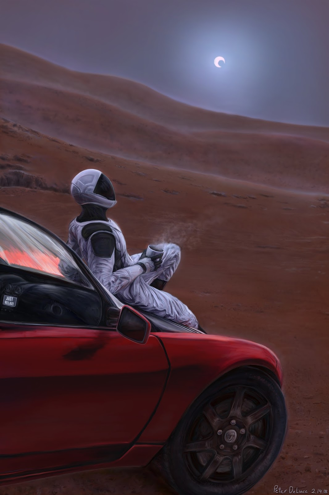 Starman with his Tesla Roadster on Mars by Peter DeLuce