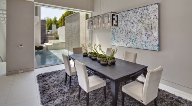 Comedores modernos en gris y blanco colores en casa - Decoracion de comedor moderno ...
