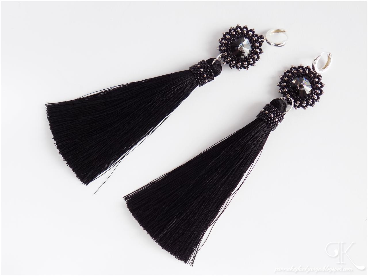 earrings, kolczyki, rivoli, Swarovski, chwost, srebro, silver, toho, toho beads, beads, handmade, rękodzieło