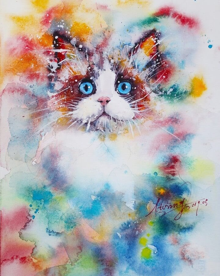 04-Cat-Watercolor-Paintings-liviing-www-designstack-co