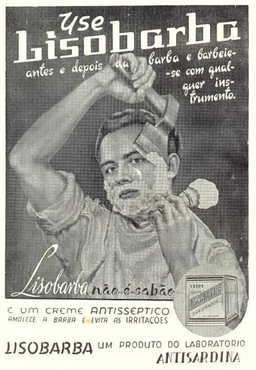 Propaganda antiga do antisséptico Lisobarba em 1953 como facilitador do ato de barbear