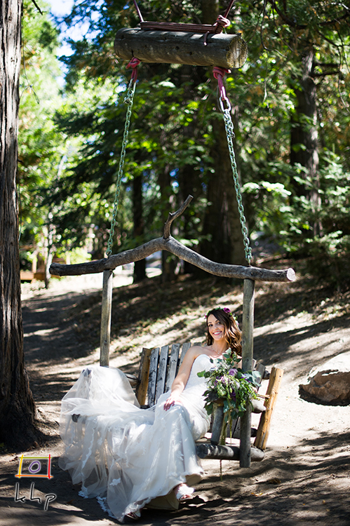 Pine Rose Cabins' Rustic Swing is the perfect place to have the bride pose for her formal portraits