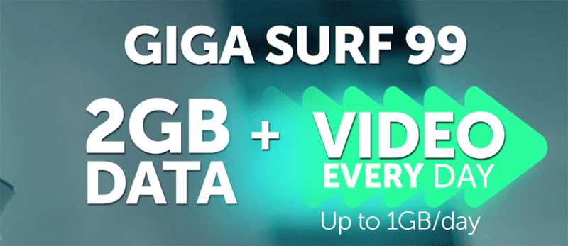 Get an additional 1GB of data for video streaming with GigaSurf