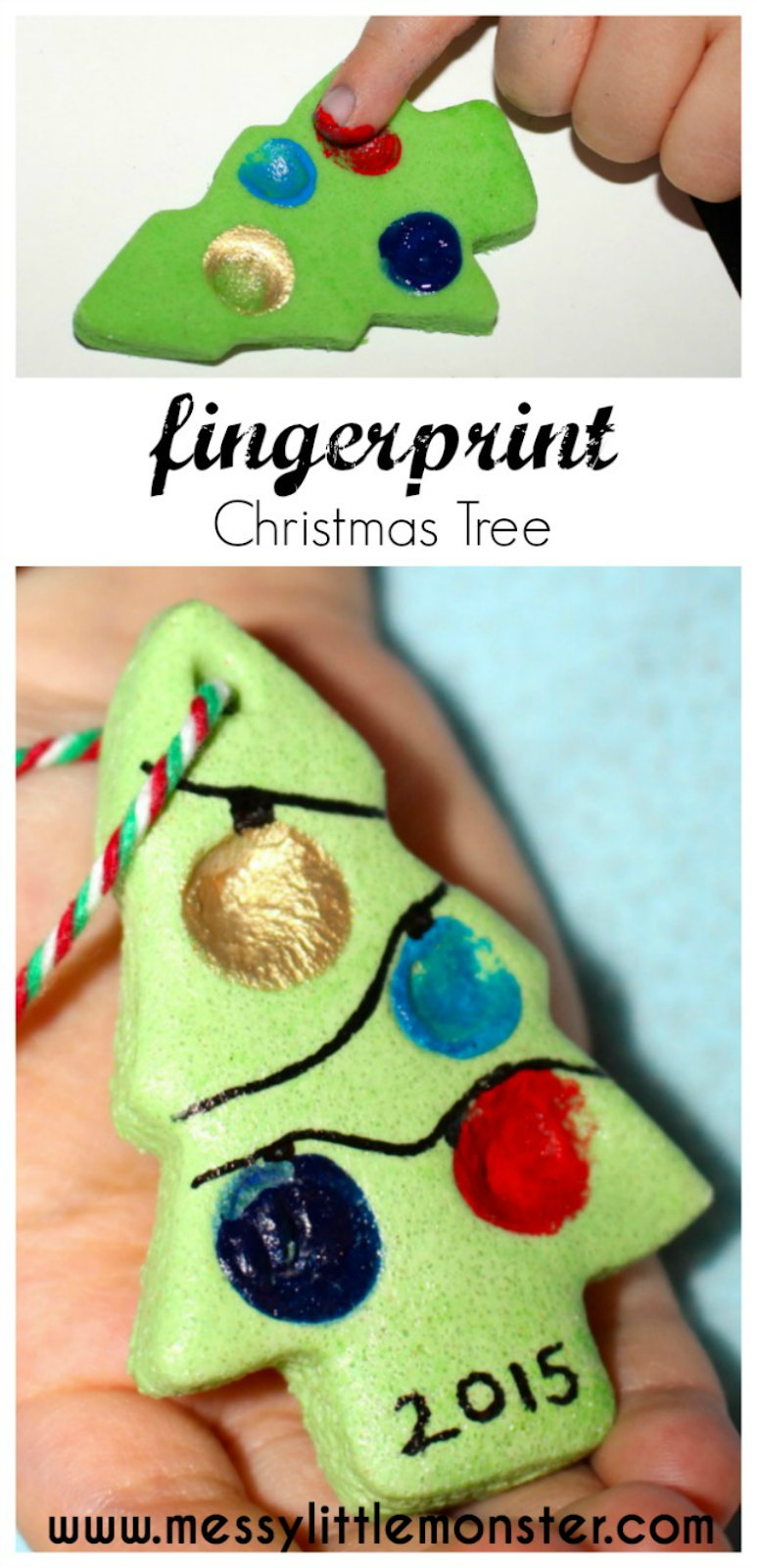 Fingerprint salt dough ornaments and coloured salt dough ornament recipe. Fingerprint christmas tree crafts for kids. Easy salt dough crafts. Personalized Christmas ornament for toddlers and preschoolers to make.