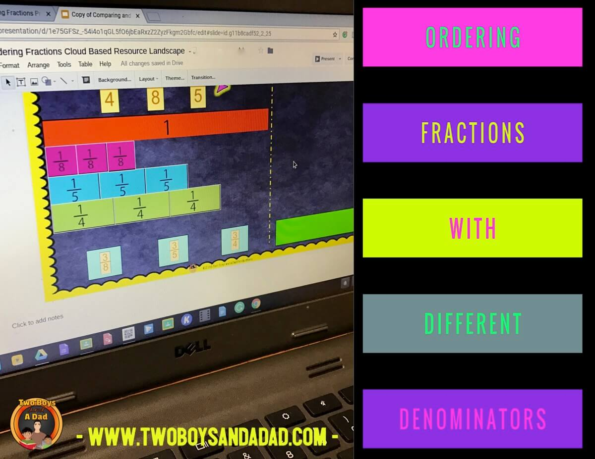 comparing fractions using Google Slides different denominators