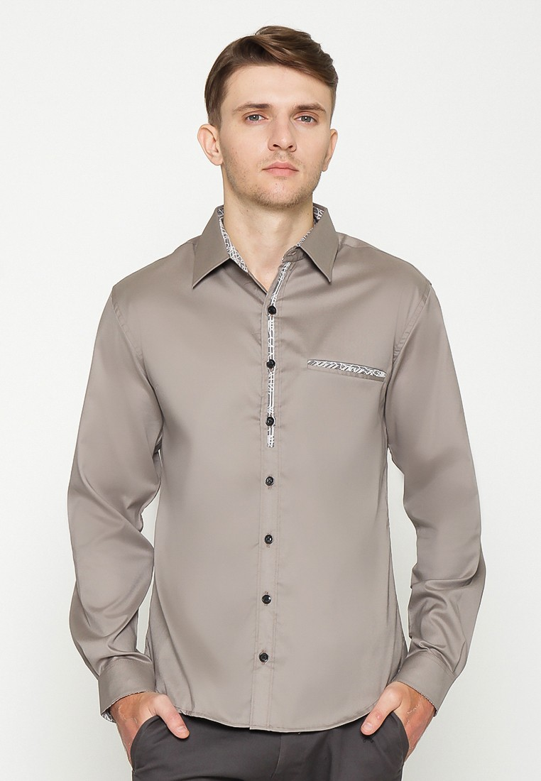 Marcello Long Sleeves Shirt - Coklat Soft