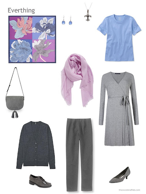 4 piece wardrobe in grey, orchid and blue
