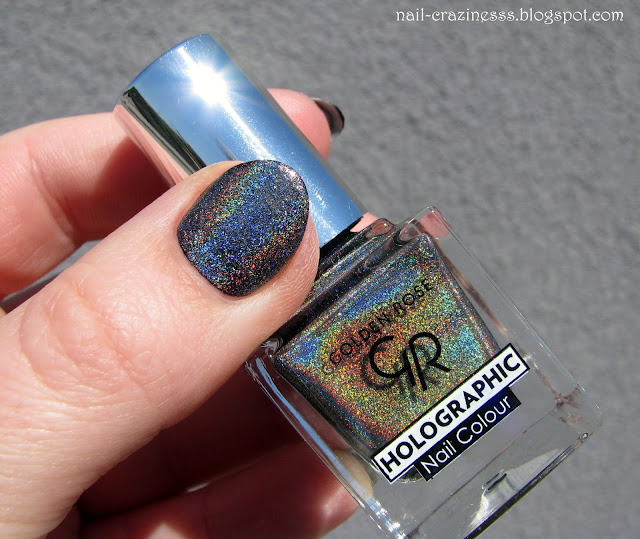holo, golden rose, black holo polish, nail polish, swatch,