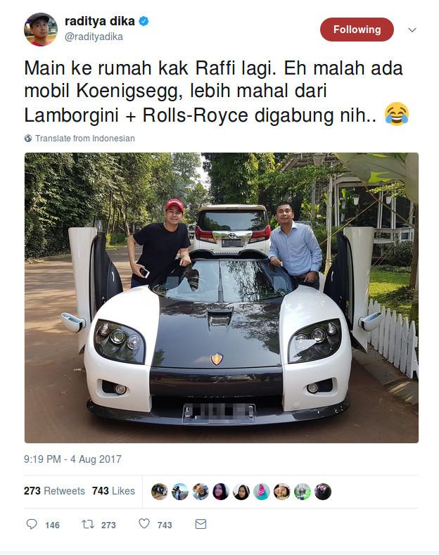 Pamer Mobil Super Mewah, Raffi Ahmad Diingatkan Ditjen Pajak